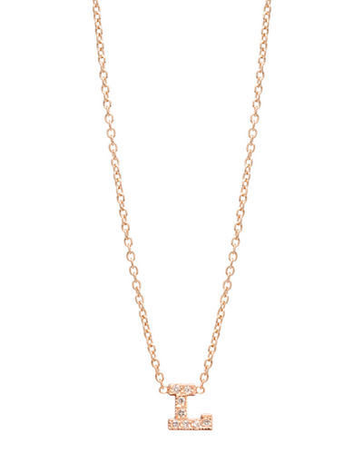 14k Pave Diamond Initial Pendant Necklace