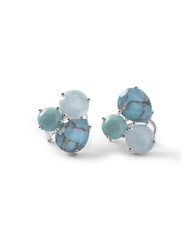 Silver Rock Candy Cluster Stud Earrings