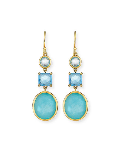 18K Rock Candy 3-Stone Drop Earrings in Midnight Rain