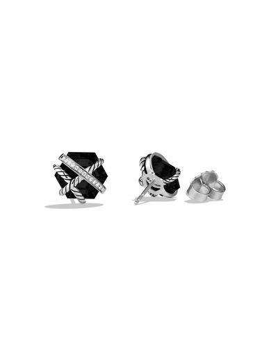 Hex Cable Wrap Earrings with Diamonds