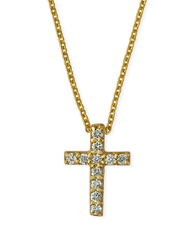 18k Small Diamond Cross Pendant Necklace