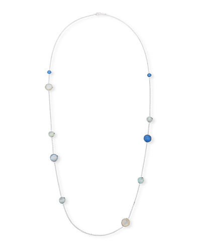 925 Wonderland Mixed Multi-Stone Station Necklace in Island