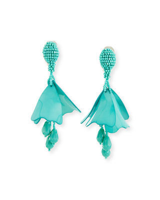 Impatiens flower drop earrings - Metallic Oscar De La Renta