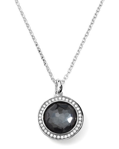 Stella Lollipop Necklace in Hematite & Diamonds 16-18