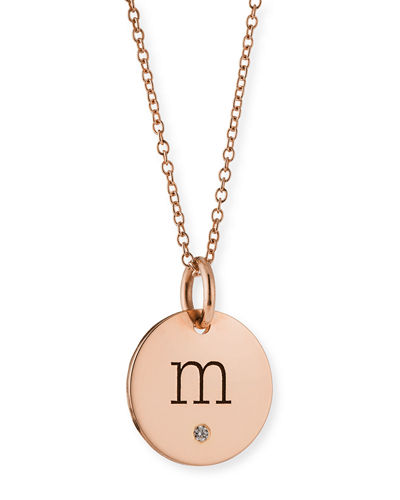 14k Personalized Name Disc Pendant Necklace with Diamond