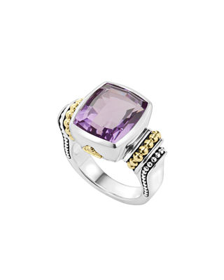 'Caviar Color' Medium Semiprecious Stone Ring, Amethyst