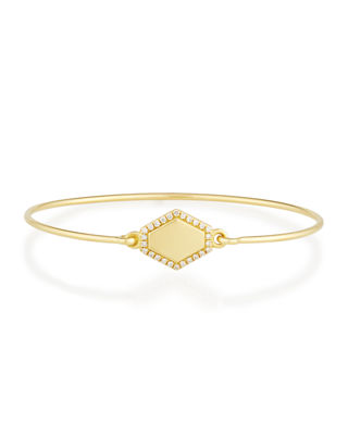 JEMMA WYNNE Personalized Prive Hexagon Bangle With Diamonds in Gold