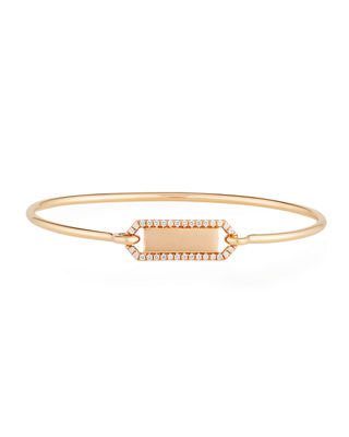 JEMMA WYNNE Personalized Prive Rectangle Bangle With Diamonds In 18K Gold in Rose Gold