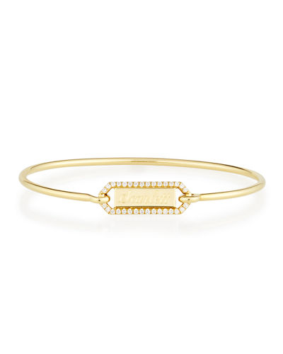 Jemma Wynne Personalized Prive Rectangle Bangle with Diamonds in 18K Gold