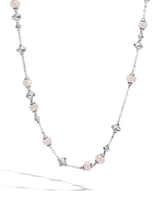 Bamboo Pink & White Moonstone Sautoir Necklace, 36""