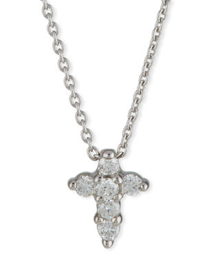 18K White Gold Small Cross Pendant Necklace With Diamonds, 16