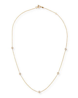 18k Gold Diamond Station Necklace