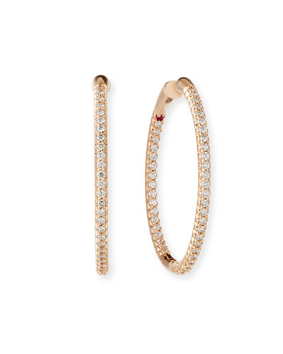 Quick Look Roberto Coin 25mm 18k Gold Micro Pave Diamond Hoop Earrings