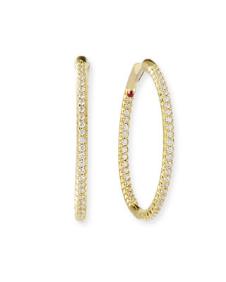 Roberto Coin 25mm 18K Gold Micro-Pave Diamond Hoop