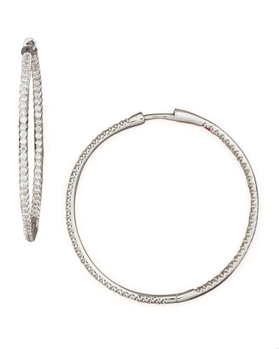 25mm 18K Gold Micro-Pave Diamond Hoop Earrings