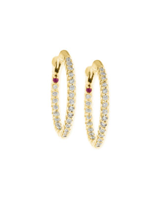 Roberto Coin XS Pave Diamond Hoop Earrings