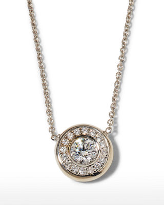 18k Gold Pave Diamond Pendant Necklace