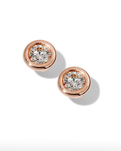 Roberto Coin 18k Rose Gold Diamond Solitaire Stud