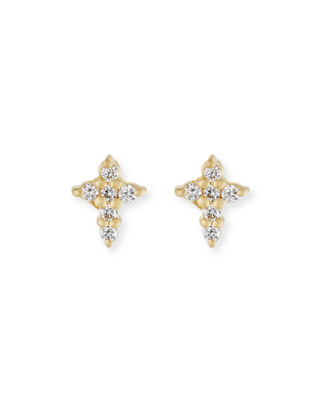 Roberto Coin Mini Diamond Cross Stud Earrings