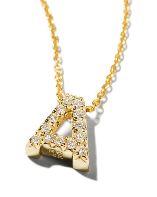 ROBERTO COIN 18K Yellow Gold And Diamond Initial Love Letter Pendant Necklace, 16