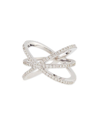 Roberto Coin 18K White Gold Diamond Double-Crisscross Ring