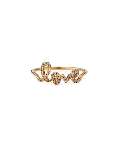 14k Gold Diamond Love Script Ring