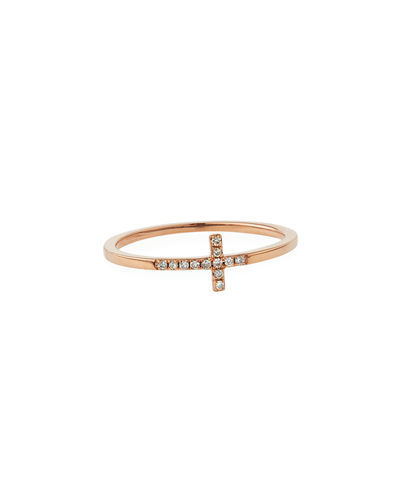 14k Gold Pave Diamond Cross Ring