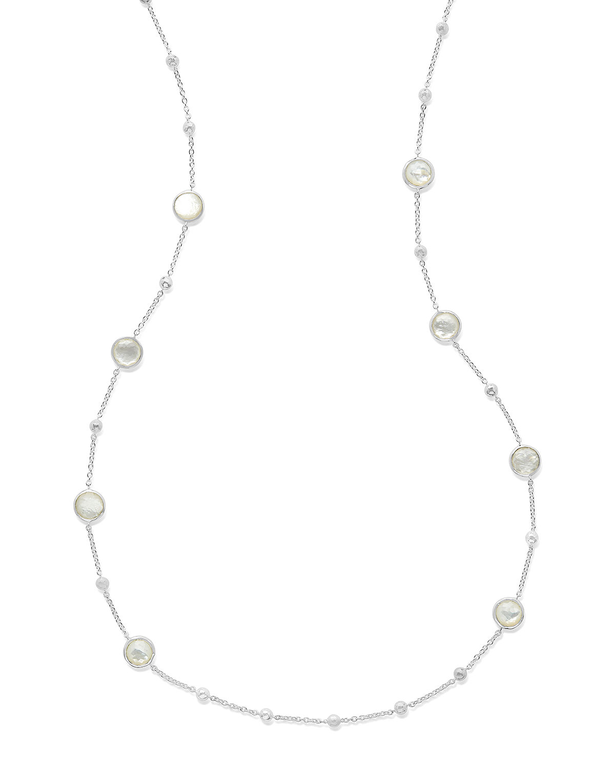 Rock Candy Ball and Stone Station Necklace in Mother-of-Pearl