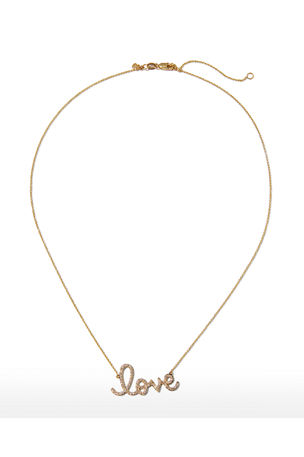 Sydney Evan Large 14k Yellow Gold & Diamond Love Necklace