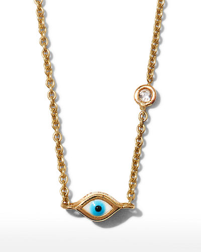 14k Gold Evil Eye Necklace with Single Diamond