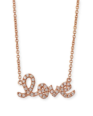 SYDNEY EVAN 14K Rose Gold Diamond Love Pendant Necklace