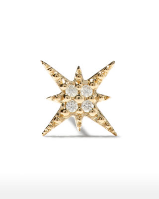 SYDNEY EVAN Starburst Diamond Single Stud Earring in Yellow Gold