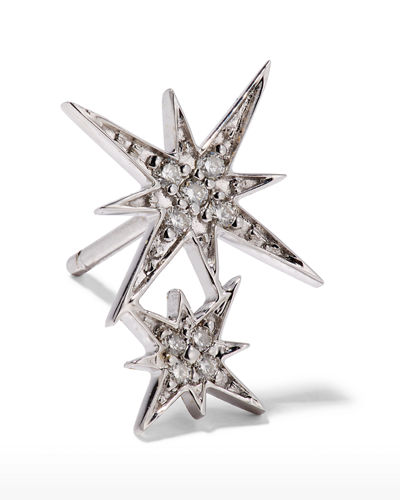 14k Pave Diamond Double Starburst Stud Earring