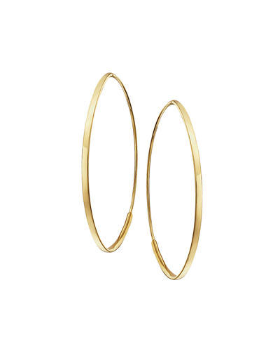 LANA Small 14K Flat Oval Magic Hoop Earrings