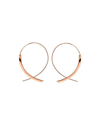 LANA Small 14K Curved Crossover Hoop Earrings