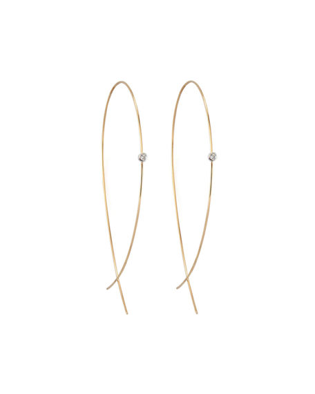 Image 1 of 2: Lana Large Upside Down Hoops with Diamonds