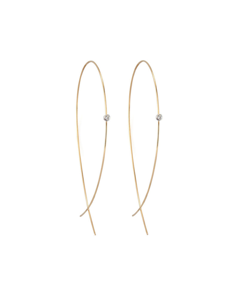 Lana Large Upside Down Hoops with Diamonds
