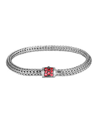 Classic Chain Sterling Silver Lava Small Bracelet With Red Sapphire