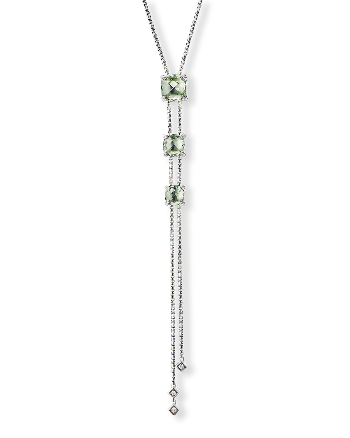 Chatelaine Faceted 18K Gold Lariat Necklace with Diamonds