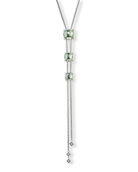 David Yurman Châtelaine Faceted 18K Gold Lariat Necklace with Diamonds
