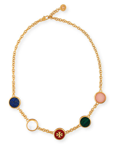Tory Burch Multicolor Round Station Necklace