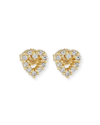 Image 1 of 2: Baby Heart Earrings with Diamonds