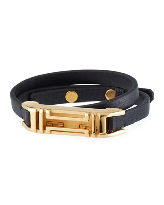 Tory Burch Leather Double-Wrap Bracelet