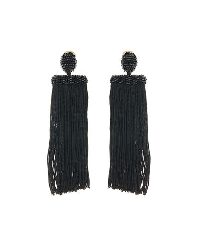 Oscar de la Renta Silk Waterfall Tassel Clip-On