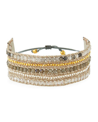 Image 1 of 3: Beaded Multi-Row Cuff Bracelet