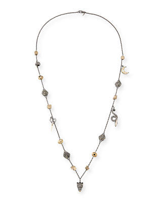 Mixed Crystal Charm Necklace, 38""