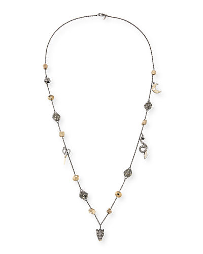 Mixed Crystal Charm Necklace, 38