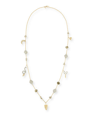 """Mixed Crystal Charm Necklace, 38"""""""