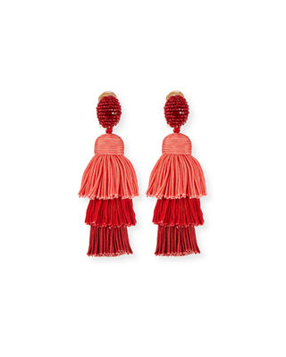 Image 1 of 3: Long Silk Tiered Tassel Clip-On Earrings