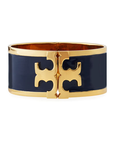 Wide Raised Logo Enamel Cuff Bracelet